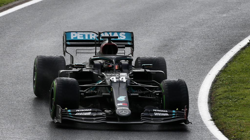 image of Lewis Hamiltons car during race