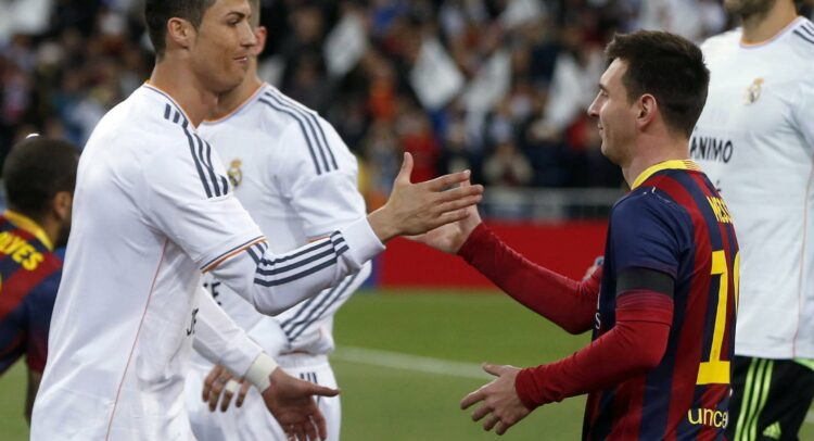 image of Cristiano Ronaldo and Messi shaking hands after the game