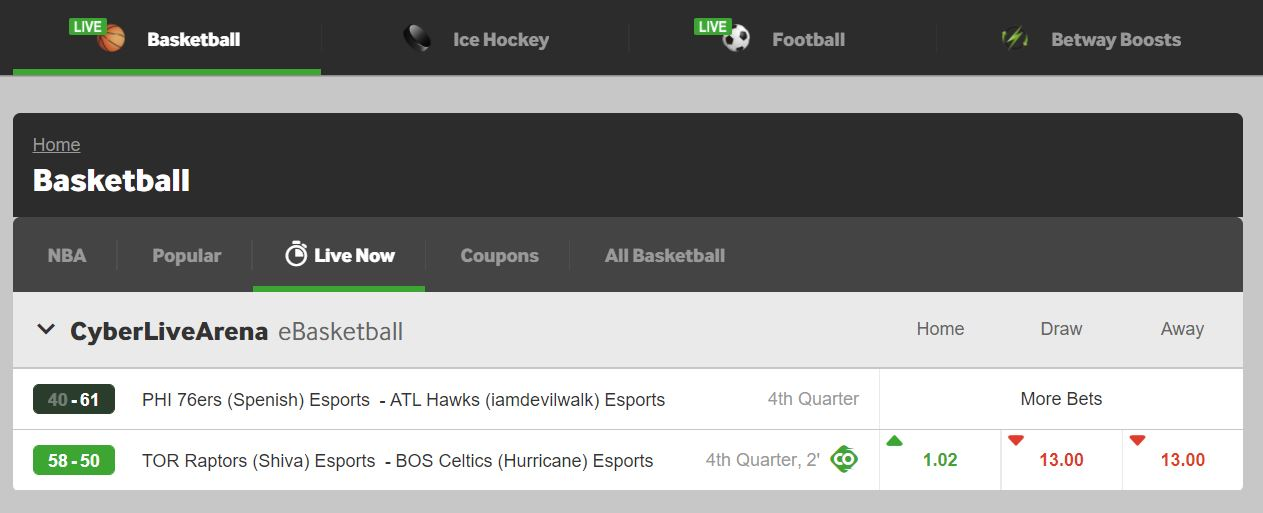 betway sports basketball live betting