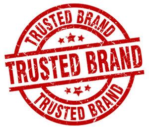 trusted brand round red grunge stamp