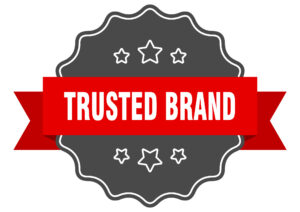 trusted brand red label. trusted brand isolated seal. trusted brand